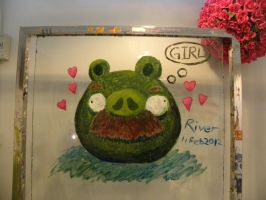 Acrylic Paint Mustache Pig by RiverKpocc