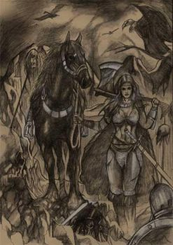 Red Sonja with horse by simon-artist