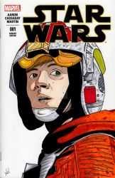 Luke Skywalker sketch cover by nathanobrien