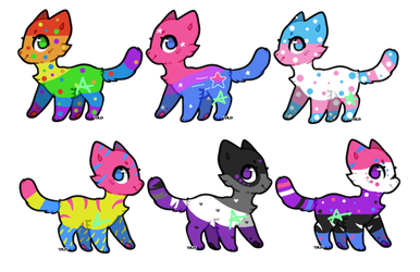 Cat Adopts #2 (Pride theme) [OPEN 2/6] Cheap! by angel-does-art