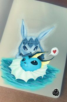 Glaceon and Vaporeon by Aohakath