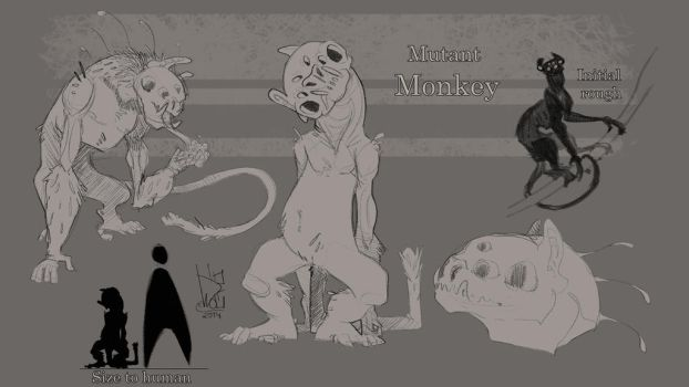 Development Work 2 Mutant Monkey by TheWolfMadness