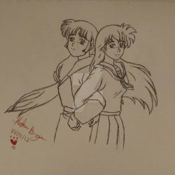 Kagome and sango by klbartistry