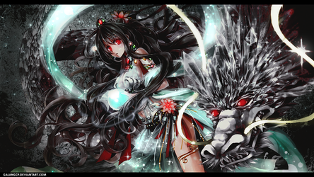 Wallpaper - Girl and Dragon by galangcp