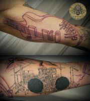 music drums note micro tat 5 by 2Face-Tattoo