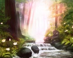 Forest Waterfall by Sycra