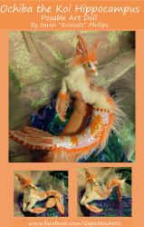 Ochiba the Koi Hippocampus Posable Art Doll by Eviecats