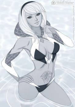 Spider Gwen Swimsuit - Line Art by MichelleHoefener