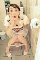 pinup on toilet by HarryCane