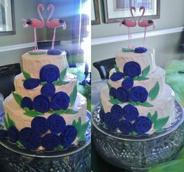 Blue Roses Wedding Cake by Charis