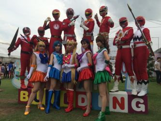 Red Rangers and Sailor Moon by transformers-fan123