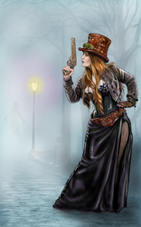 Lady Kathryn, steam punk adventurer. by Genggendall