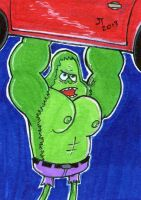 Skips as The Hulk sketch card by johnnyism
