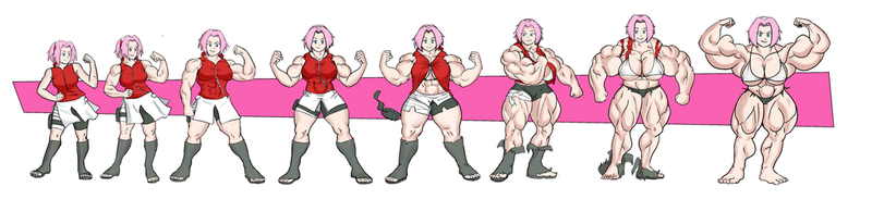 Sakura muscle growth commission by NeroScottKennedy