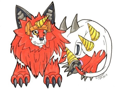 Digimon - Dorulumon drawing  by Kitamon