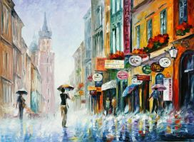 Downpour by Leonid Afremov by Leonidafremov