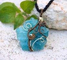 Amazonite flower wire wrapped pendant by IanirasArtifacts