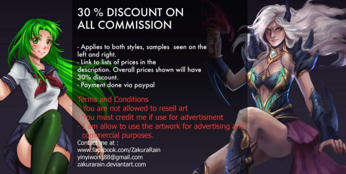 30% Discount on all Commission [OPEN] by ZakuraRain