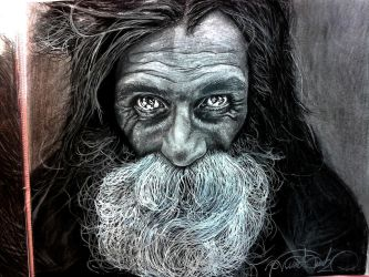 Homeless Man Fantastic Portrait by NekroGothicMaster