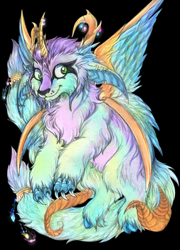 Fluttery little coloured monster by BeIIatriss
