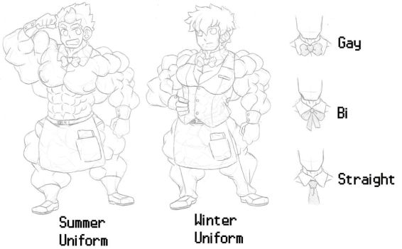 Muscle Cafe Uniforms by ryugaxryoga