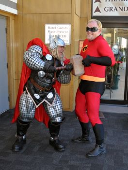 Thor vs. Mr. Incredible by MiG29TangentBoy