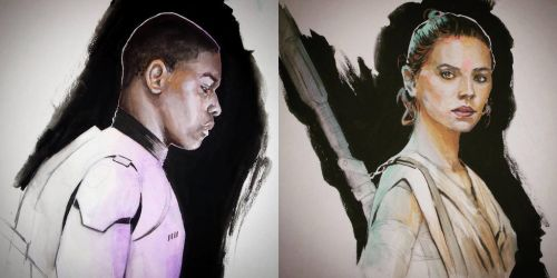 Finn and Rey Gouache Studies by JohnVitaleArt