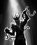 Shadow Sauron Guy with Snakes by Germille