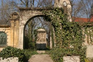 Ivy arch with grave by almudena-stock