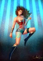 Justice League! Guitar player! Wonder Woman! by float-cloud