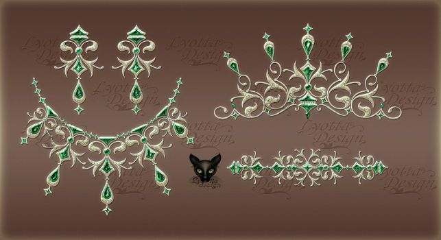 Jewelry Design Gold necklace diadem with emeralds by Lyotta