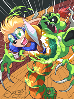 20160508 - Sparkster vs Snake Lord by nekoiichi