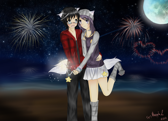 FireWorks with Miki and Kyo by XMeggie-ChanX