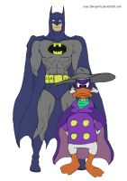 Batman and Darkwing Duck by Guy-Inkognito