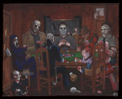 Horror Icons playing poker by photon-nmo