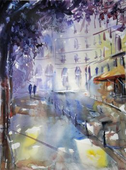 Promenade a l'ombre - Watercolor by nicolasjolly