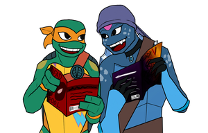 ROTTMNT: Drawing Your OCs! |2| Mikey and Kameko by Darkus-Woody