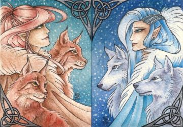 ACEO Winter Elves by fenifire