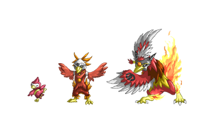 Fakemon-Fire Starters by Magic-Purple-Hermit