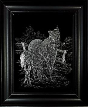 Horses on Scratchboard by Astridyl