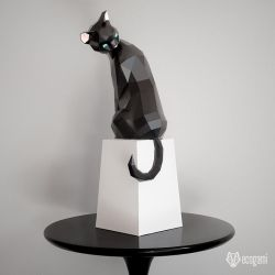 Papercraft grooming cat by EcogamiShop