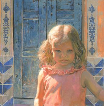 Mila against the Blue Wood Door by DChernov