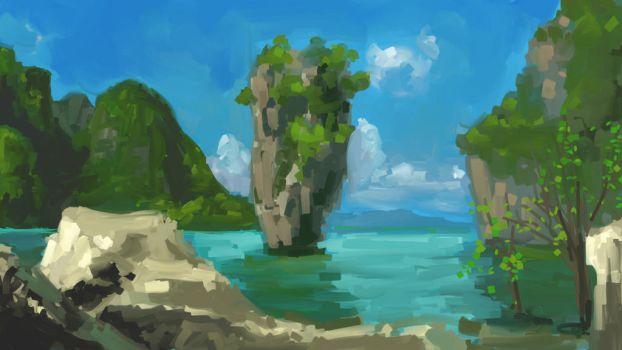 Ko Tapu Thailand Quickpaint by MattJWood