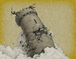Crumbling Tower by quellion