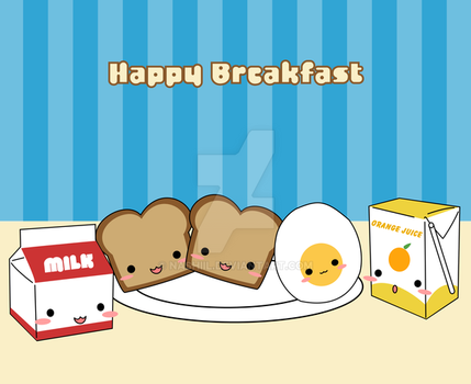 Happy Breakfast Food by Nashiil