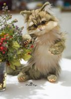 Handmade Poseable toy commission fluffy kitten by MalinaToys