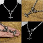King of Wolves Necklace with Large Mjolnir by GoodSpiritWolf
