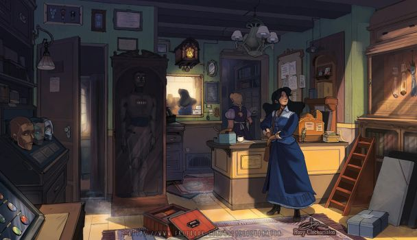 Mecanimus - The Watchmaker's Shop by rosy-Clockomaton