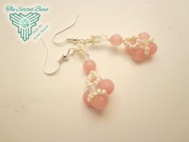 Pink RAW and Cream Seed Bead Set - Earrings by TheSortedBead