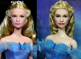 Cinderella 2015 Lily James doll custom repaint by noeling
